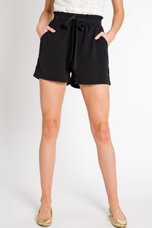 Ruffle Waist Tie Shorts, Black