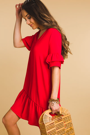 Ruffled Pebble Dress, Red