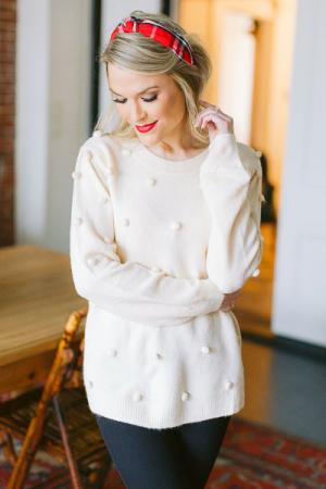 Pom Pom Front Sweater, Cream