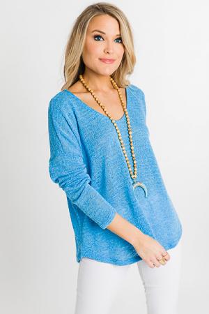 Light Knit Top, Blue