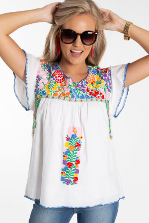Andrea Embroidery Top, White