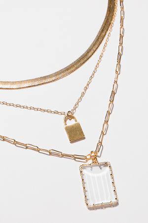 Clear Herringbone Necklace, Gold