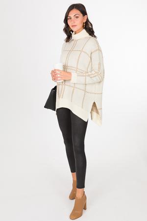 Grid Turtleneck Sweater, Cream
