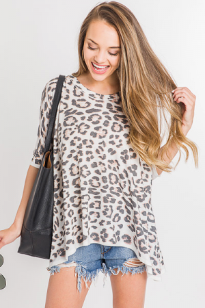 Slouchy LS Leopard Tee, Off White