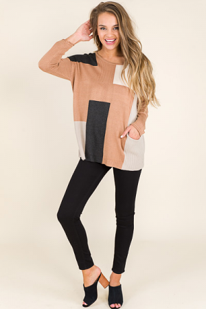 Neutral Colorblock Sweater