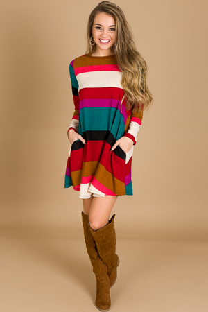 Multi Stripe Knit Dress