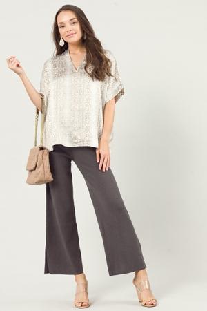 Sweater Side Slit Pants, Charcoal