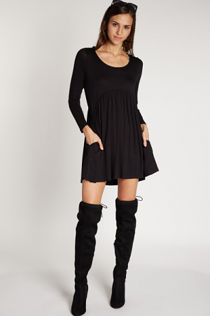 Babydoll Pocket Dress, Black