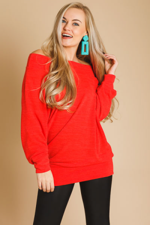 Banded Off Shoulder Tunic, Cherry