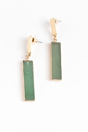 Rectangle Stone Earrings, Green