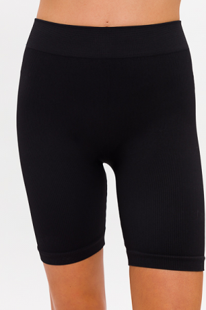 Ribbed Biker Short, Black