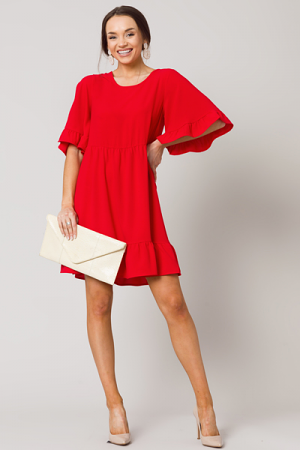 Solid Babydoll Dress, Red