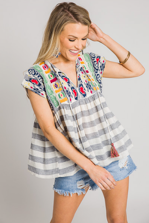 Summer Fun Embroidery Top
