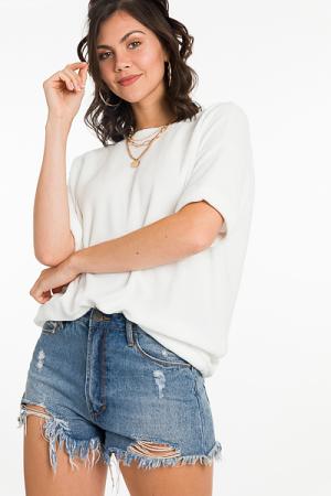 Soft Textured Pullover, White