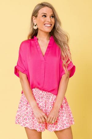 Cam Satin Blouse, Hot Pink