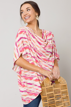 Amber Cowl Neck Top, Pink