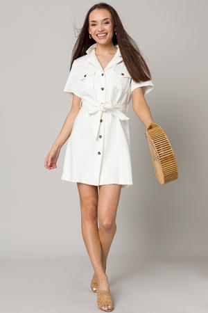 Em Belted Dress, White