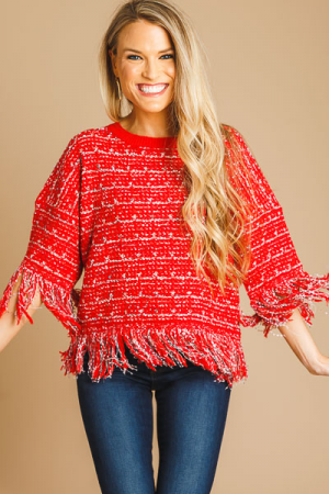 Fringe Tweed Sweater, Red