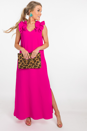 Ruffle Shoulders Maxi, Pink