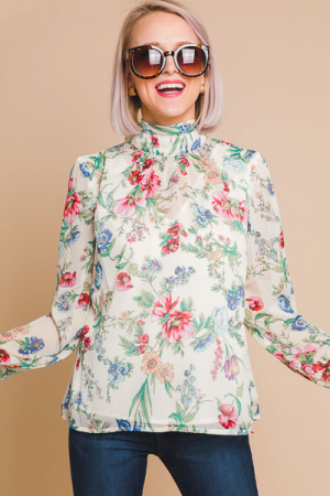 Floral High Neck Blouse