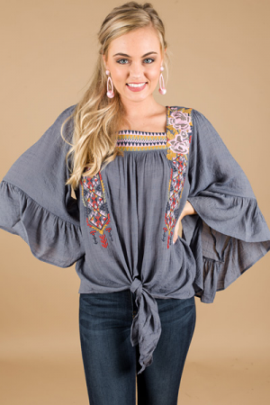 Embroidered Tie Top, Slate