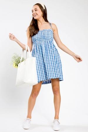 Gingham Smock Dress, Ocean Blue