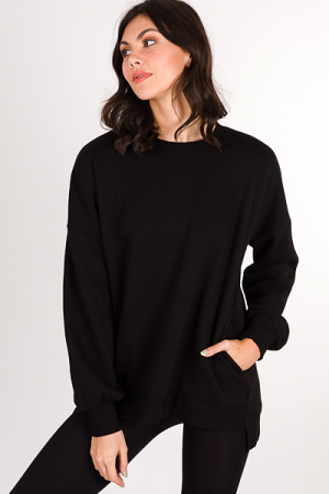 Side Pocket Sweatshirt, Black
