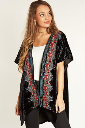 Velvet Embroidery Kimono