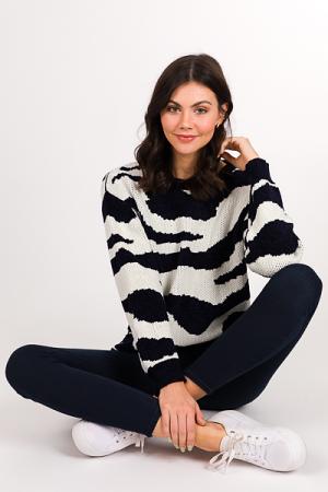 Zebra Chenille Sweater, Navy