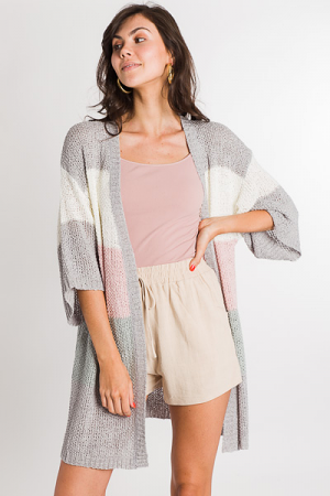 Block Out Cardi, Pink/Grey