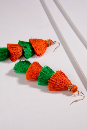 Kate Colorblock Tassels, Green