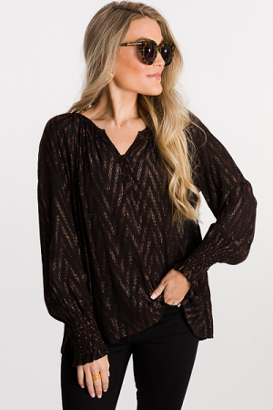 Chevron Shine Blouse, Black