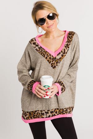 Pink Leopard V Pullover
