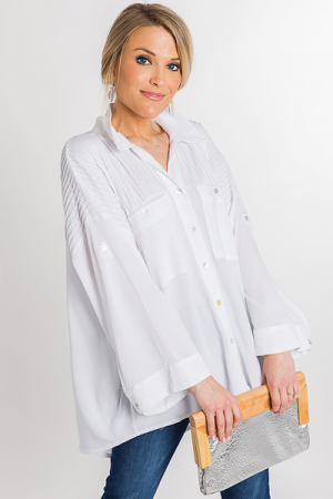 Pleated Button Down, White