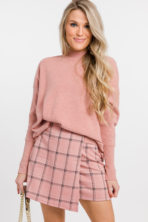 Regina Plaid Skirt, Pink