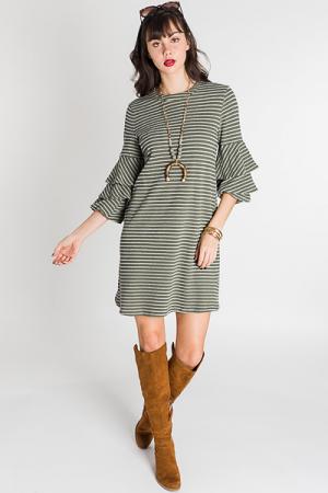 Ruffle Sleeve Striped Dress, Olive