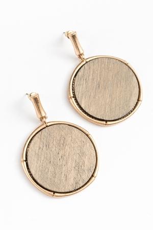 Wood Disc & Bar Earrings, Light Gray