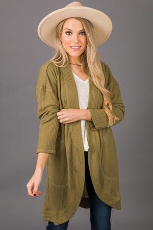 Solid Thermal Cardi, Olive