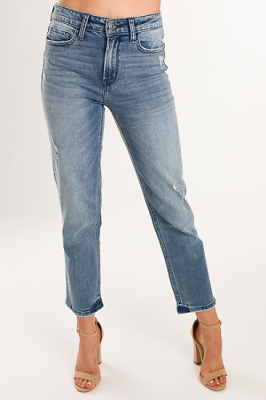 Dede Straight Jeans, Medium Blue