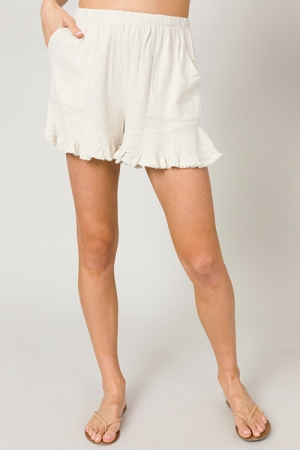 Frayed Ruffle Edge Shorts, Oatmeal