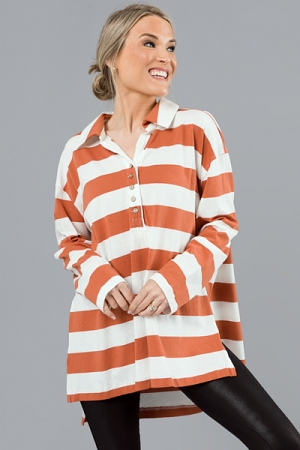 Tucker Stripe Tunic, Rust