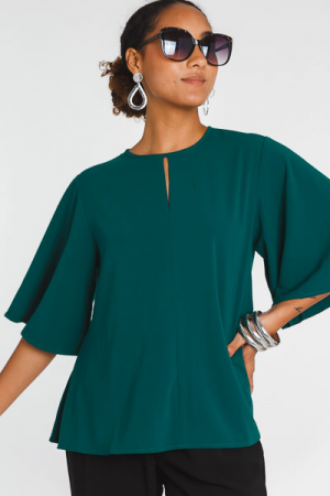 Flutter Sleeve Blouse, Emerald