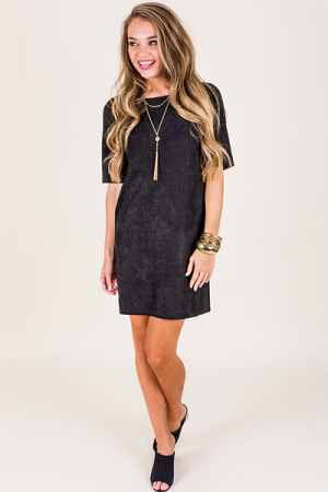 Sally Suede Dress, Black