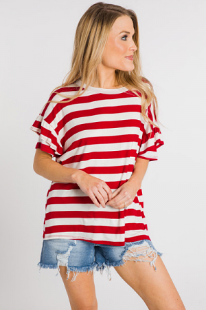 Red Ruffle Striped Tee