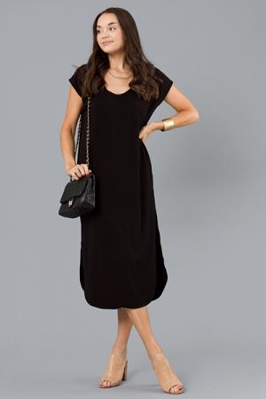 Loose Rib Knit Midi, Black
