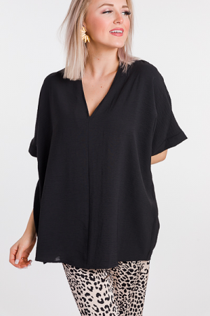 Be Mine Boxy Blouse, Black