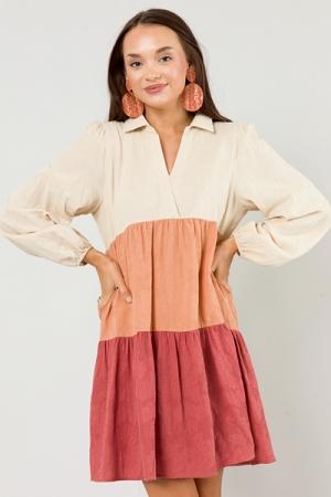 Textured Colorblock Dress, Stone