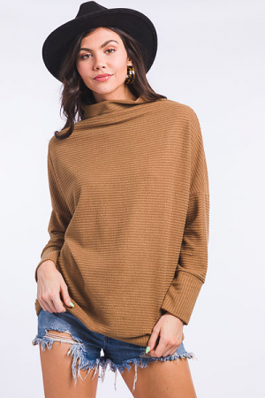 Sideways Ribbed Tunic, Taupe
