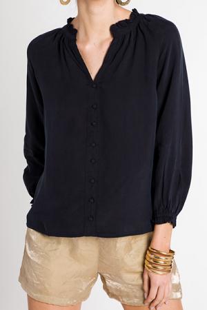 Ruffle Collar Button Blouse, Navy