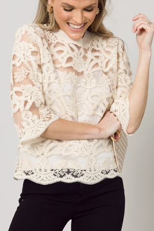 Embellished Lace Pullover, Cream